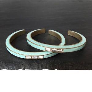 J. Crew Enamel Crystal Brass Cuff Bracelets
